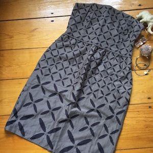 J. Crew Cocoa brown X-marks-spot strapless dress